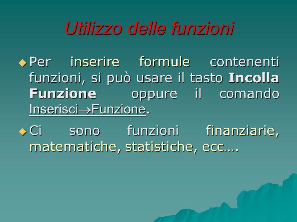 Utilizzo delle funzioni  Per inserire formule contenenti funzioni, si può usare il tasto Incolla Funzione oppure il comando Inserisci  Funzione.  C