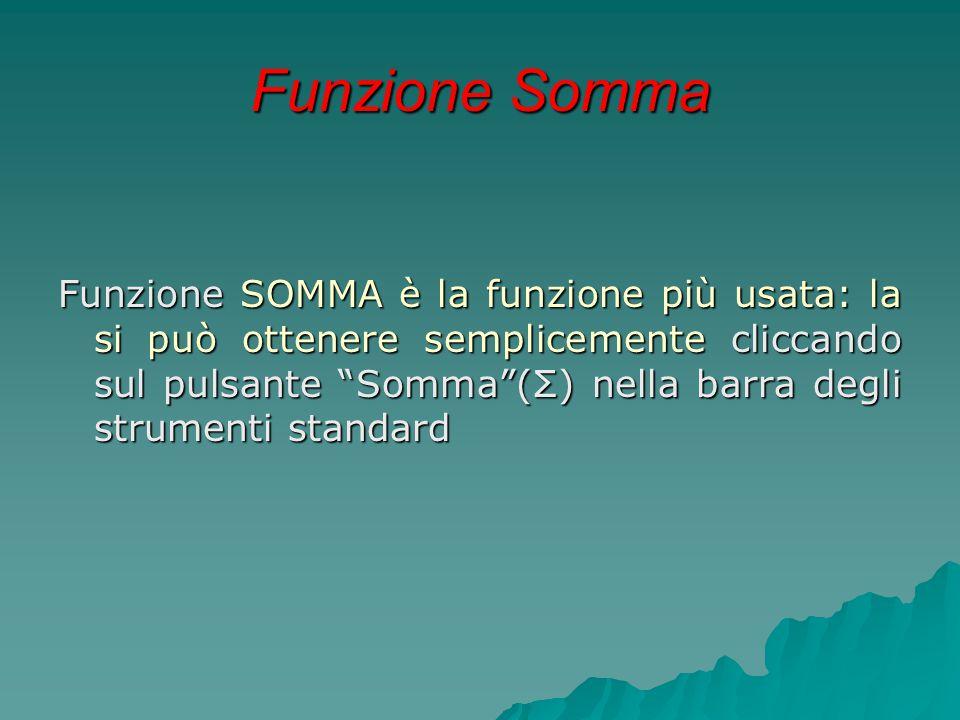 """Funzione Somma Funzione SOMMA è la funzione più usata: la si può ottenere semplicemente cliccando sul pulsante """"Somma""""(Σ) nella barra degli strumenti"""