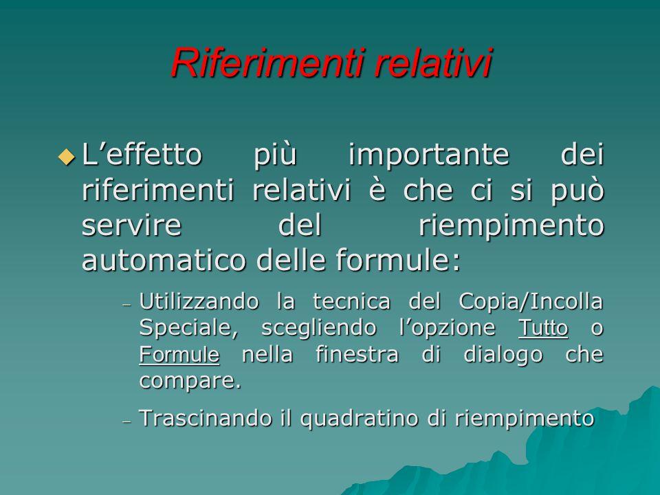 Riferimenti relativi  L'effetto più importante dei riferimenti relativi è che ci si può servire del riempimento automatico delle formule:  Utilizzan