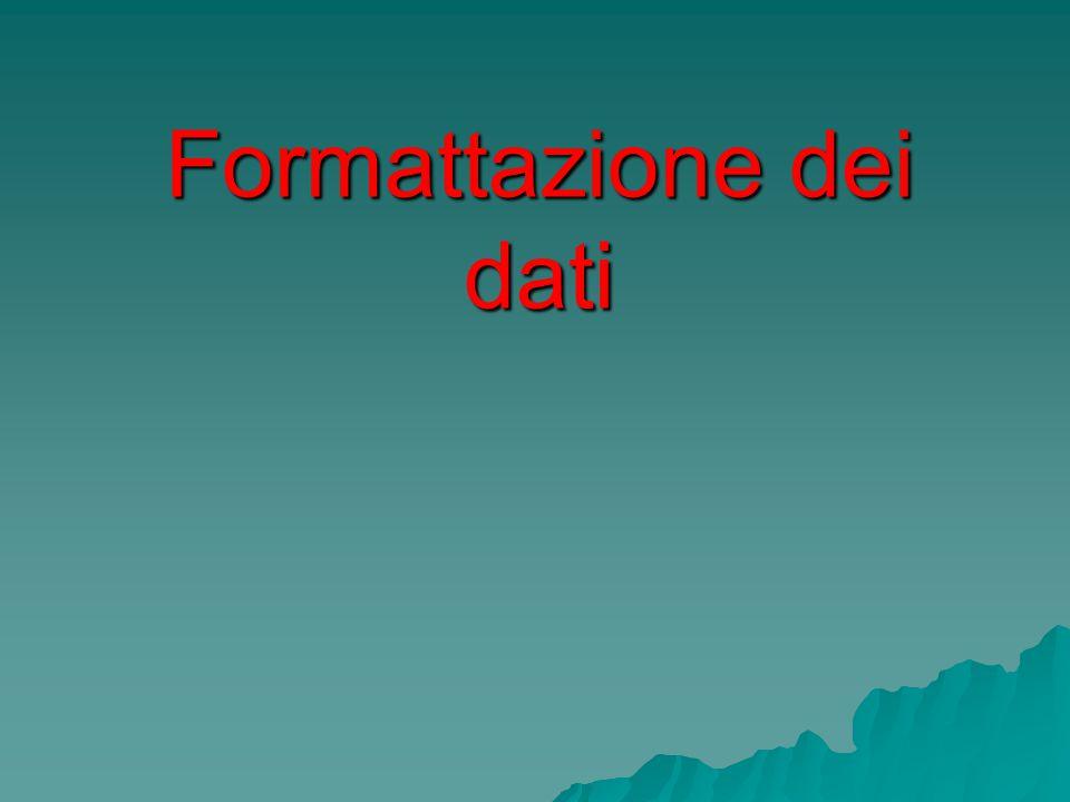 Formattazione dei dati