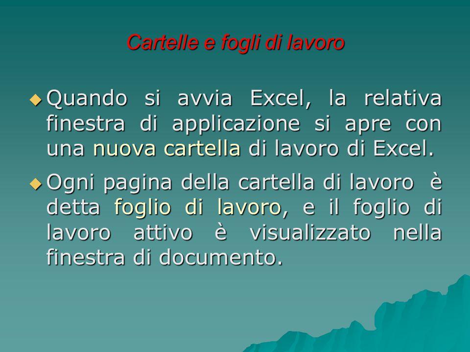 Cartelle e fogli di lavoro  Quando si avvia Excel, la relativa finestra di applicazione si apre con una nuova cartella di lavoro di Excel.  Ogni pag