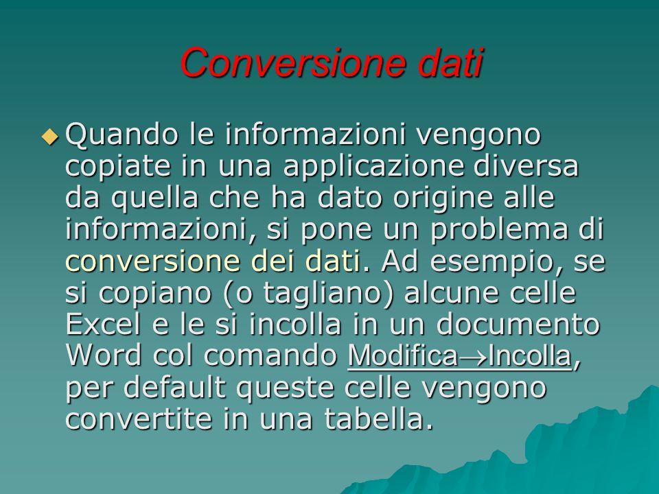 Conversione dati  Quando le informazioni vengono copiate in una applicazione diversa da quella che ha dato origine alle informazioni, si pone un prob