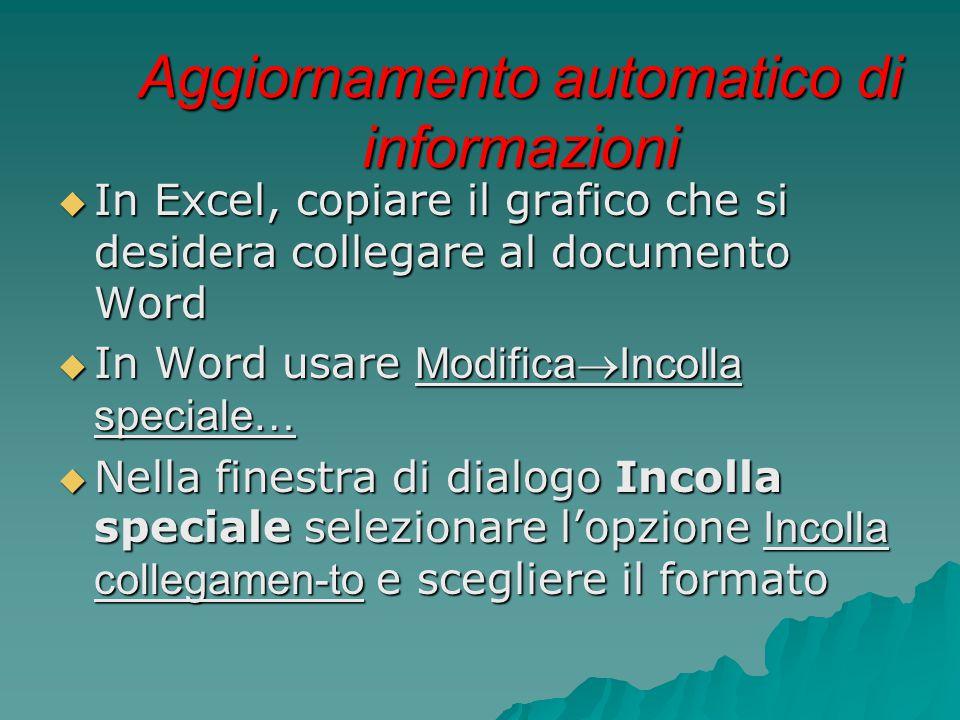 Aggiornamento automatico di informazioni  In Excel, copiare il grafico che si desidera collegare al documento Word  In Word usare Modifica  Incolla