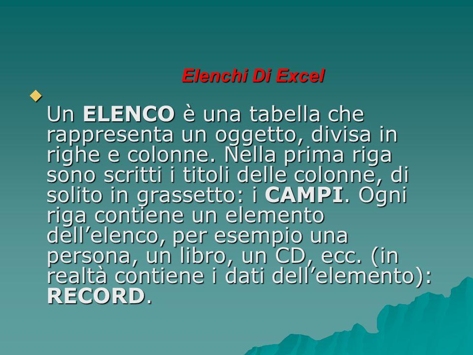 Elenchi Di Excel  Un ELENCO è una tabella che rappresenta un oggetto, divisa in righe e colonne. Nella prima riga sono scritti i titoli delle colonne