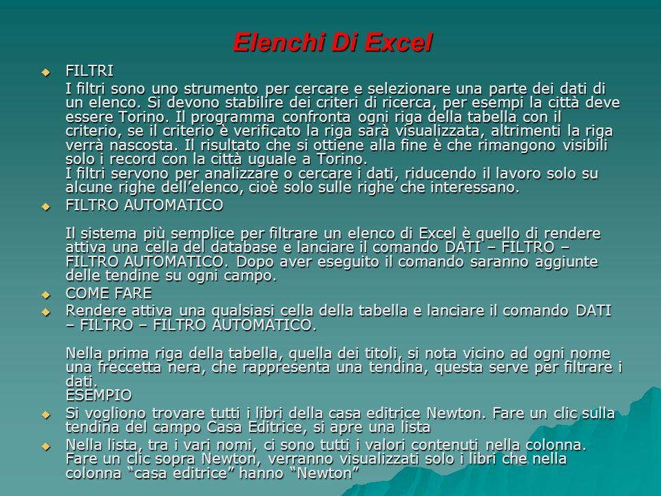 Elenchi Di Excel  FILTRI I filtri sono uno strumento per cercare e selezionare una parte dei dati di un elenco. Si devono stabilire dei criteri di ri