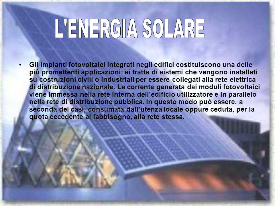 Gli impianti fotovoltaici integrati negli edifici costituiscono una delle più promettenti applicazioni: si tratta di sistemi che vengono installati su