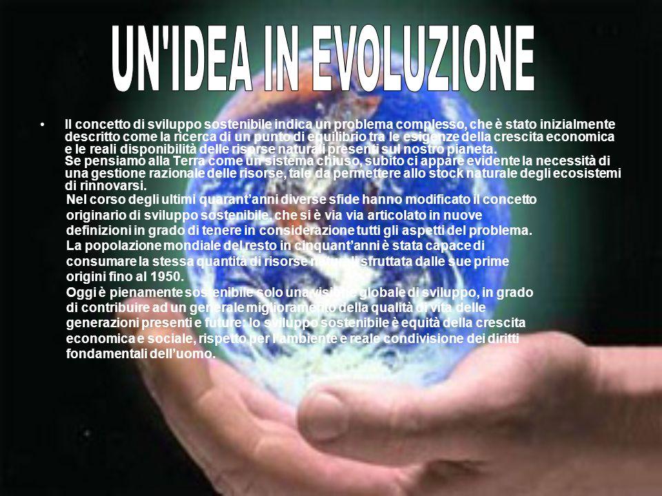 Il concetto di sviluppo sostenibile indica un problema complesso, che è stato inizialmente descritto come la ricerca di un punto di equilibrio tra le