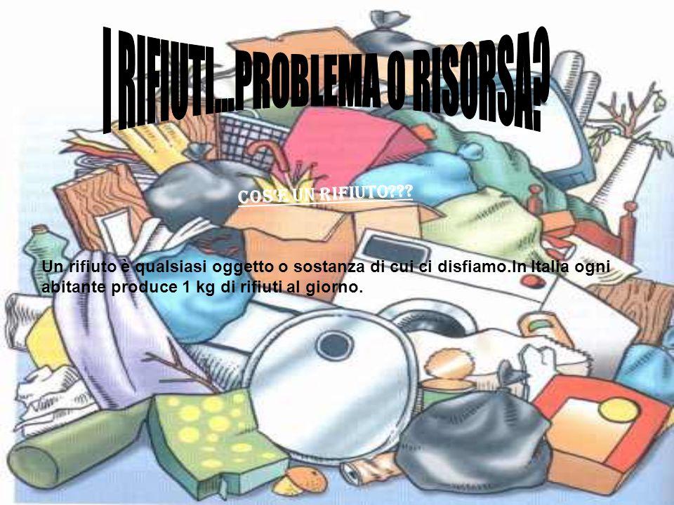 Cos'è un rifiuto??? Un rifiuto è qualsiasi oggetto o sostanza di cui ci disfiamo.In Italia ogni abitante produce 1 kg di rifiuti al giorno.