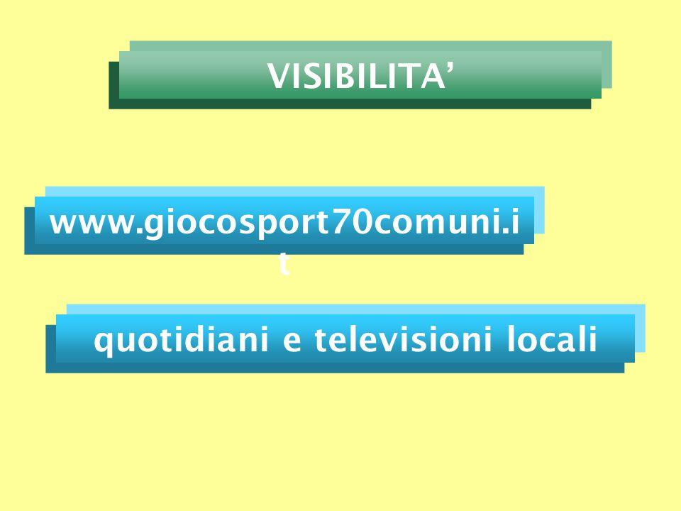 www.giocosport70comuni.i t VISIBILITA' quotidiani e televisioni locali