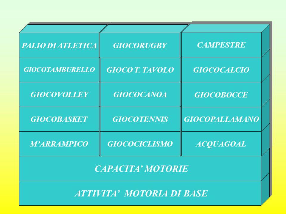 ATTIVITA' MOTORIA DI BASE CAPACITA' MOTORIE M'ARRAMPICO GIOCOCICLISMO ACQUAGOAL GIOCOBASKET GIOCOTENNIS GIOCOPALLAMANO GIOCOVOLLEY GIOCOCANOA GIOCOBOC