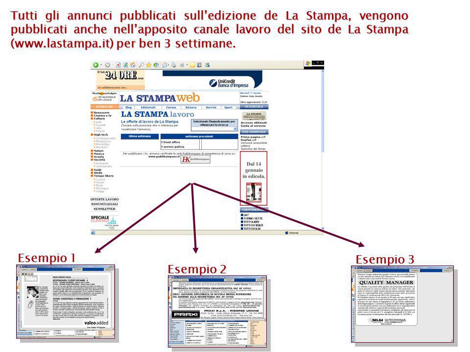 Esempio 1 Esempio 2 Esempio 3 Tutti gli annunci pubblicati sull'edizione de La Stampa, vengono pubblicati anche nell'apposito canale lavoro del sito de La Stampa (www.lastampa.it) per ben 3 settimane.