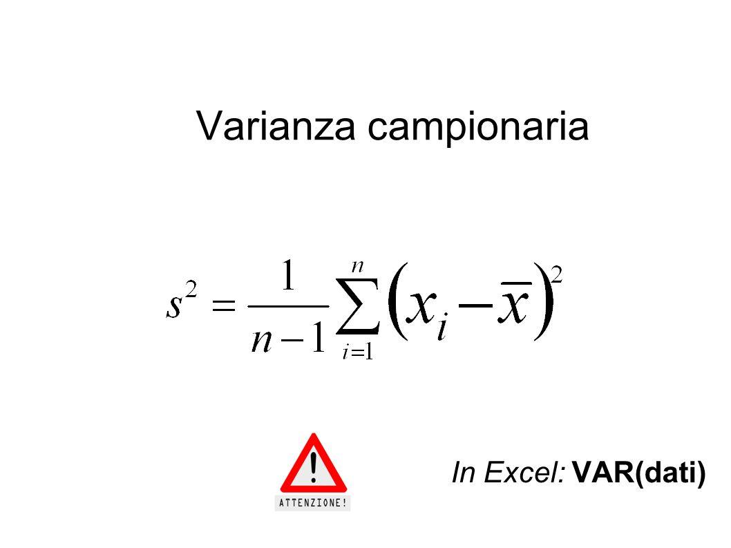 Varianza campionaria In Excel: VAR(dati)