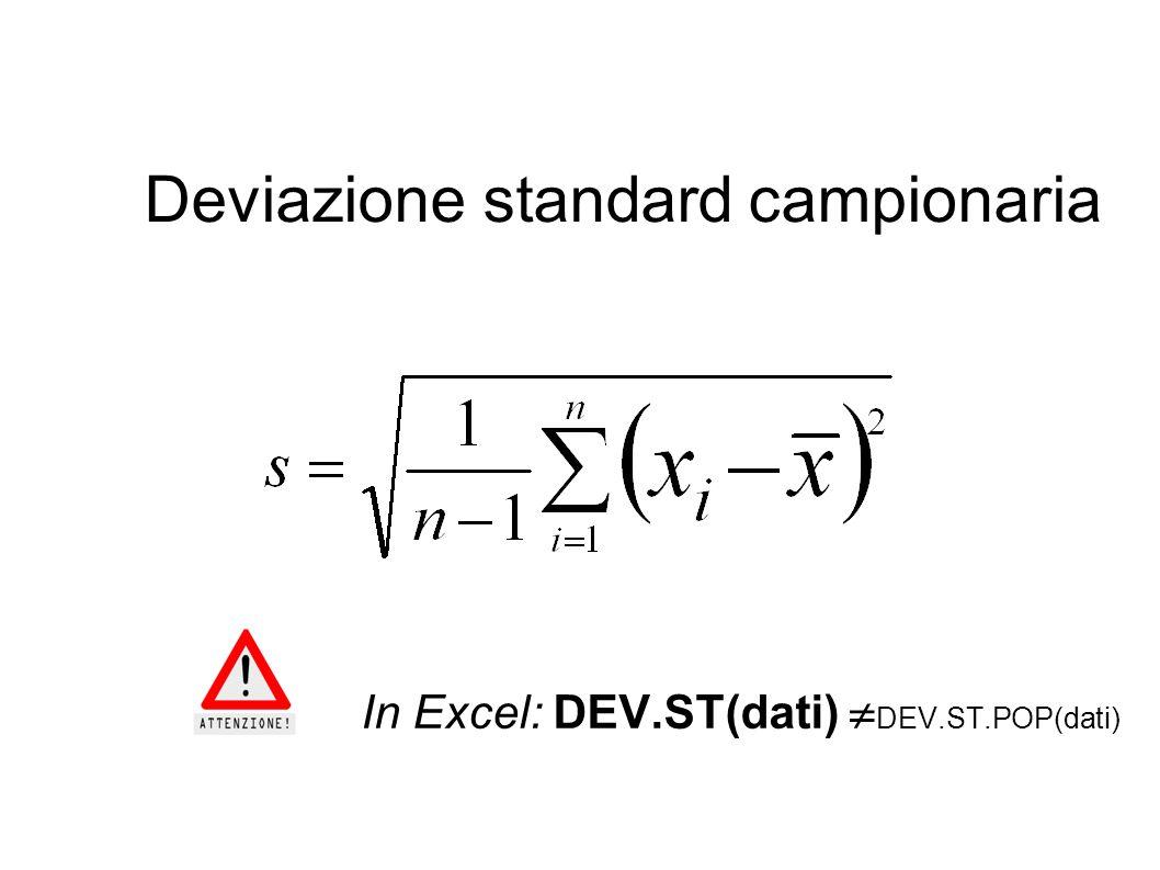Deviazione standard campionaria In Excel: DEV.ST(dati)  DEV.ST.POP(dati)