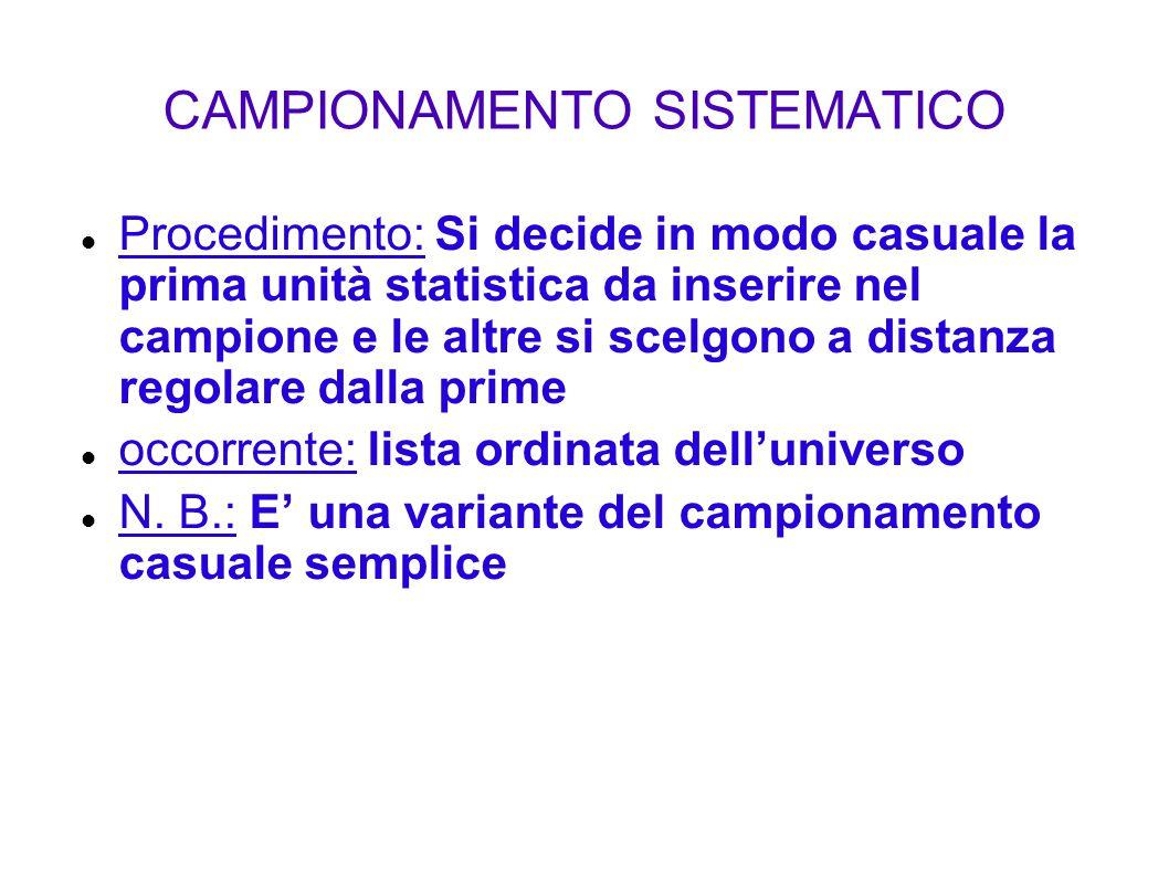 CAMPIONAMENTO SISTEMATICO Procedimento: Si decide in modo casuale la prima unità statistica da inserire nel campione e le altre si scelgono a distanza