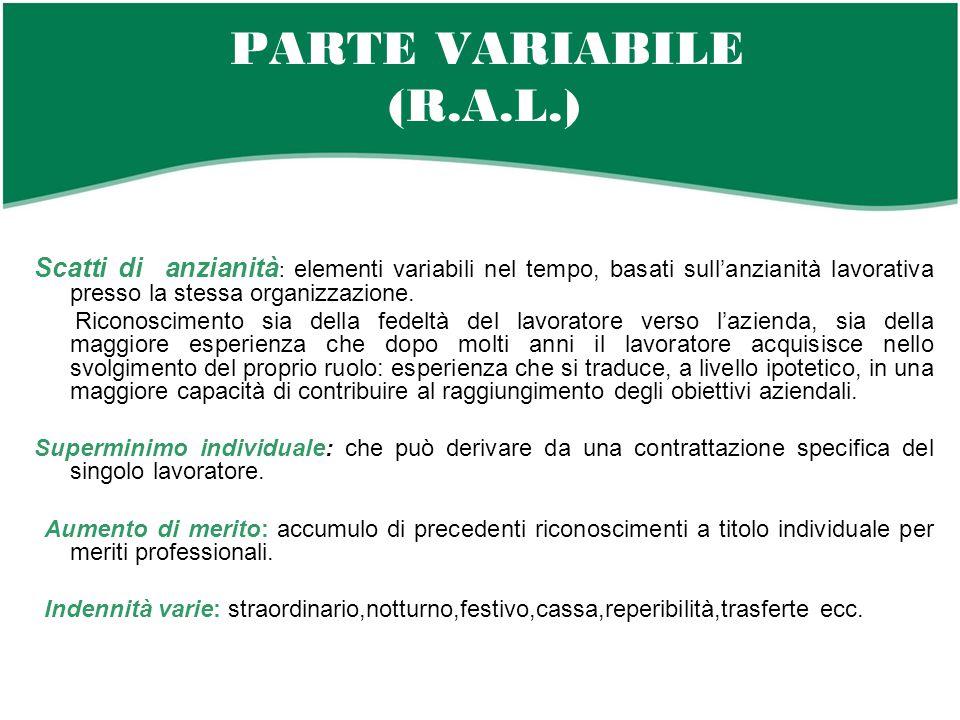 PARTE VARIABILE (R.A.L.) Scatti di anzianità : elementi variabili nel tempo, basati sull'anzianità lavorativa presso la stessa organizzazione.