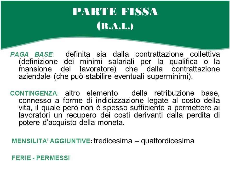 PARTE FISSA ( R.A.L.) PAGA BASE: definita sia dalla contrattazione collettiva (definizione dei minimi salariali per la qualifica o la mansione del lavoratore) che dalla contrattazione aziendale (che può stabilire eventuali superminimi).