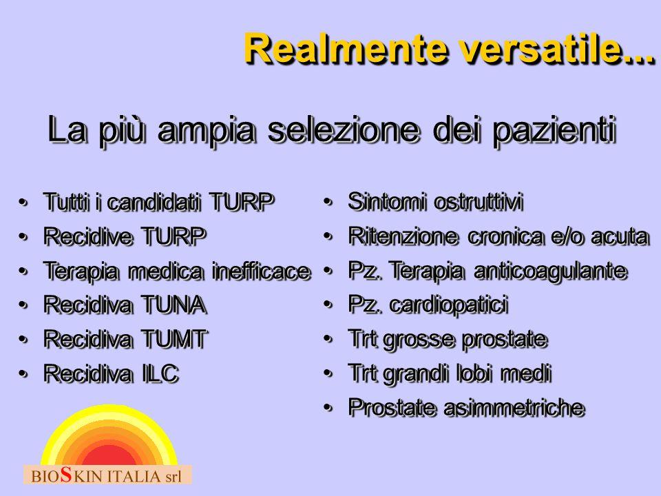 Realmente versatile... La più ampia selezione dei pazienti Tutti i candidati TURPTutti i candidati TURP Recidive TURPRecidive TURP Terapia medica inef