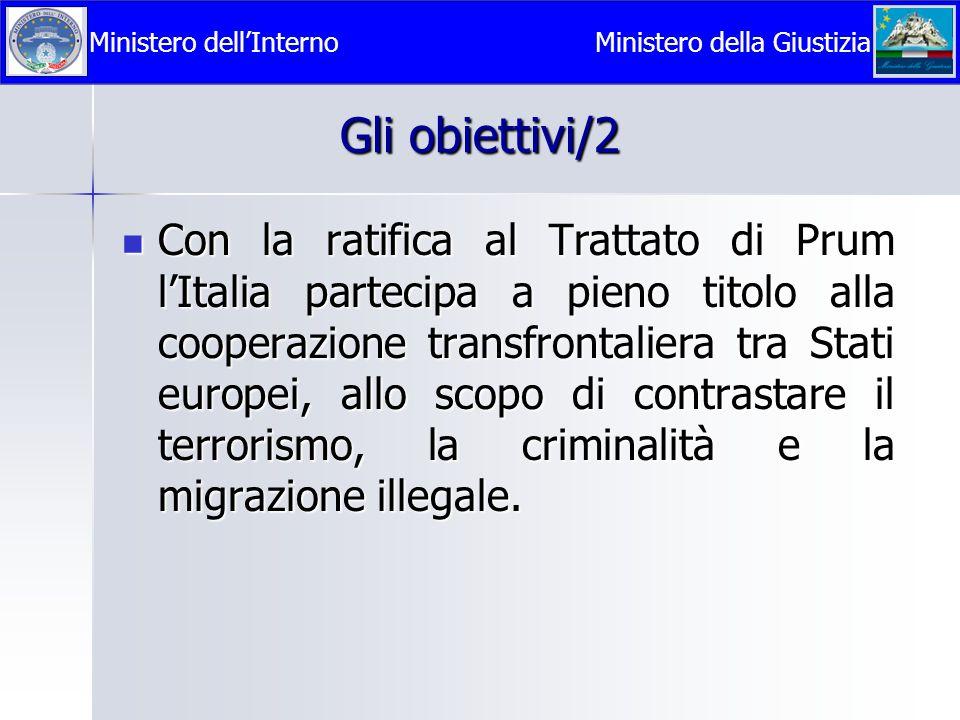 Gli obiettivi/2 Con la ratifica al Trattato di Prum l'Italia partecipa a pieno titolo alla cooperazione transfrontaliera tra Stati europei, allo scopo