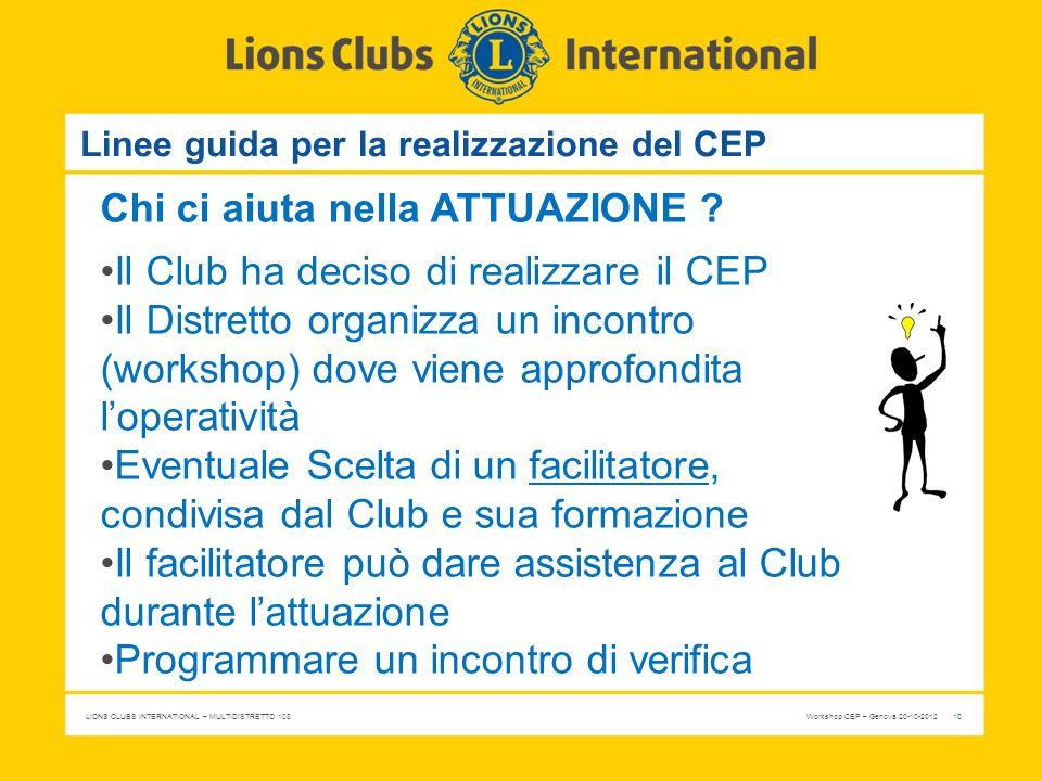 LIONS CLUBS INTERNATIONAL – MULTIDISTRETTO 108 Workshop CEP – Genova 20-10-2012 10 Linee guida per la realizzazione del CEP Chi ci aiuta nella ATTUAZI
