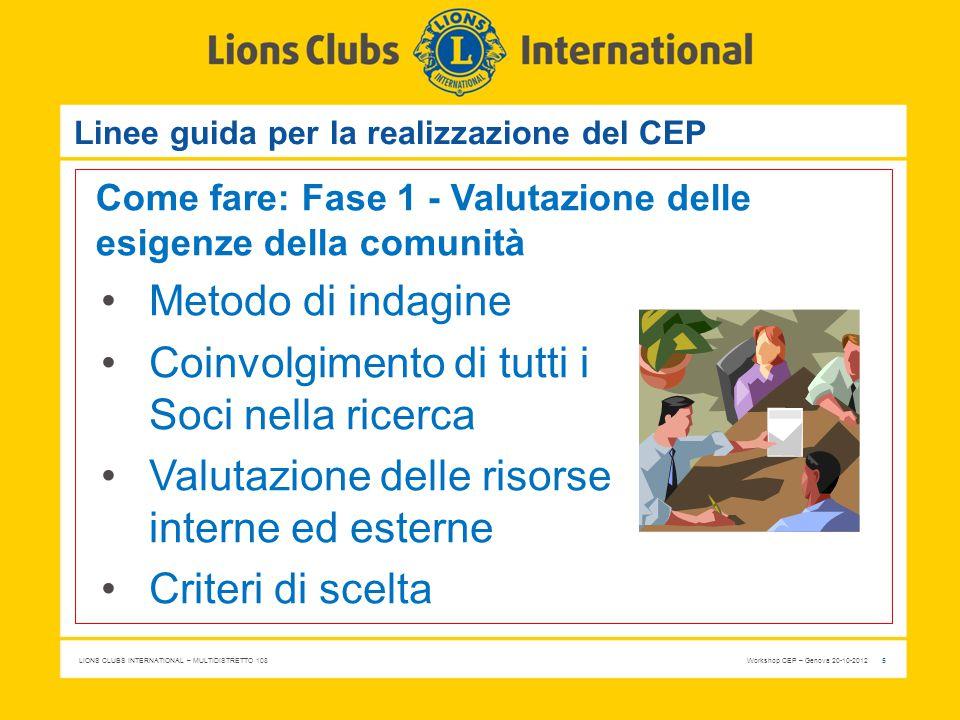 LIONS CLUBS INTERNATIONAL – MULTIDISTRETTO 108 Workshop CEP – Genova 20-10-2012 6 Linee guida per la realizzazione del CEP Come fare: Fase 2 - Analisi dei punti di forza e delle risorse del Club Cosa è «di qualità» nel mio Club .