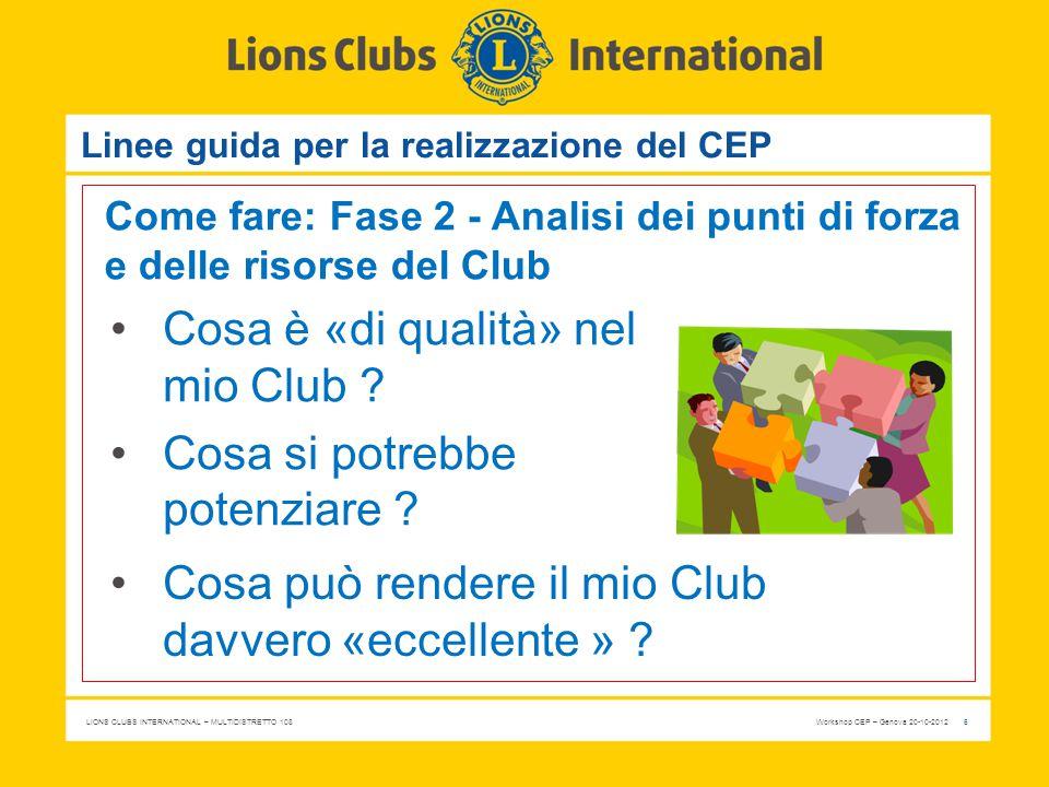 LIONS CLUBS INTERNATIONAL – MULTIDISTRETTO 108 Workshop CEP – Genova 20-10-2012 6 Linee guida per la realizzazione del CEP Come fare: Fase 2 - Analisi