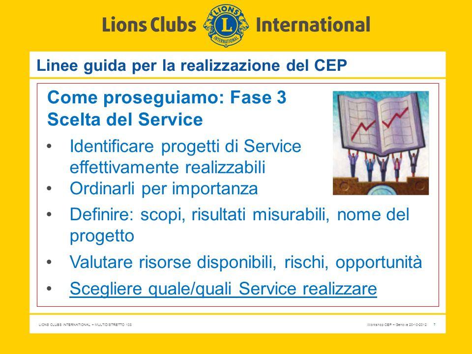 LIONS CLUBS INTERNATIONAL – MULTIDISTRETTO 108 Workshop CEP – Genova 20-10-2012 7 Linee guida per la realizzazione del CEP Come proseguiamo: Fase 3 Sc