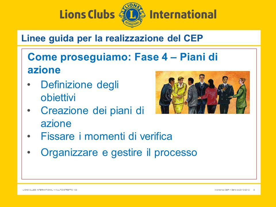 LIONS CLUBS INTERNATIONAL – MULTIDISTRETTO 108 Workshop CEP – Genova 20-10-2012 8 Linee guida per la realizzazione del CEP Come proseguiamo: Fase 4 –