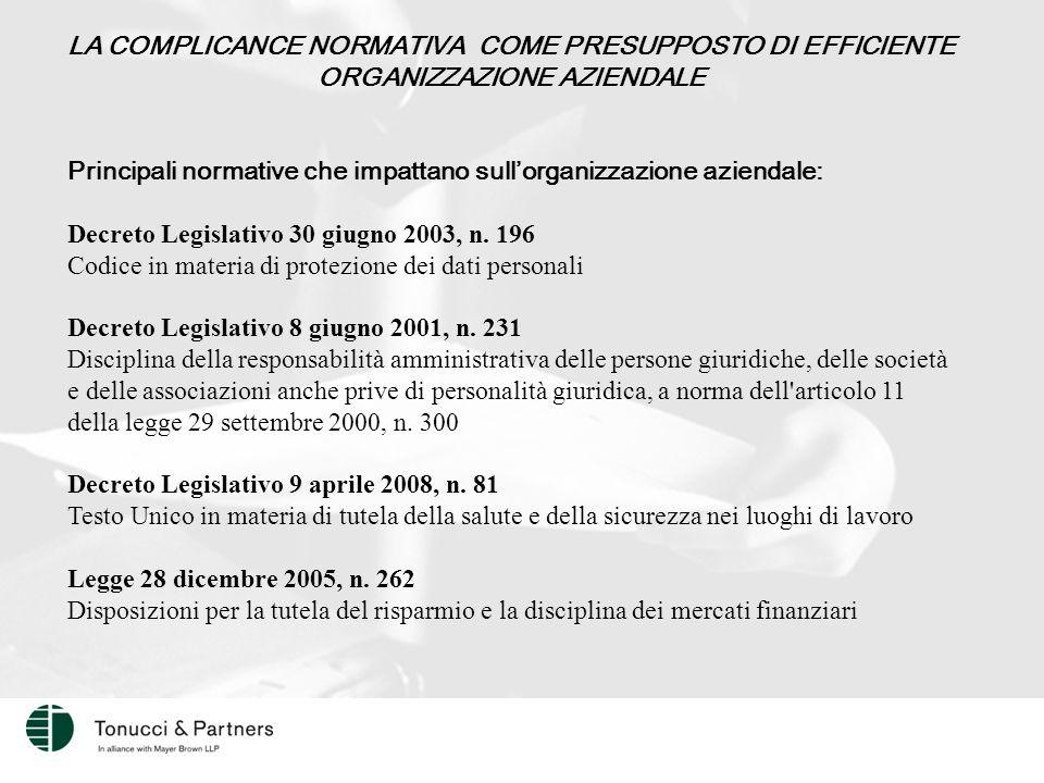LA COMPLICANCE NORMATIVA COME PRESUPPOSTO DI EFFICIENTE ORGANIZZAZIONE AZIENDALE Principali normative che impattano sull'organizzazione aziendale: Decreto Legislativo 30 giugno 2003, n.