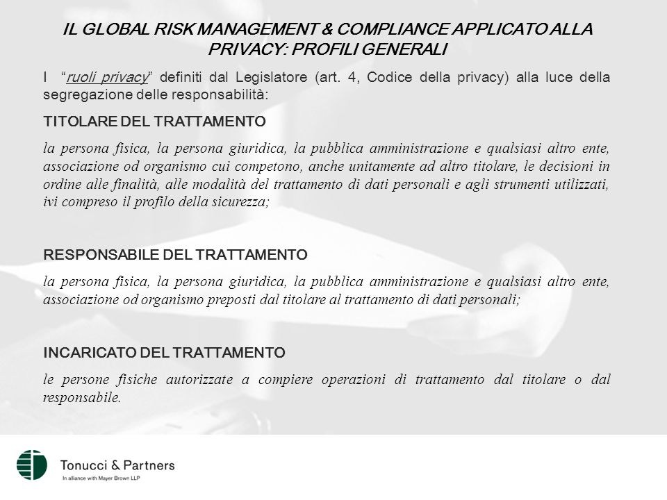 IL GLOBAL RISK MANAGEMENT & COMPLIANCE APPLICATO ALLA PRIVACY: PROFILI GENERALI I ruoli privacy definiti dal Legislatore (art.