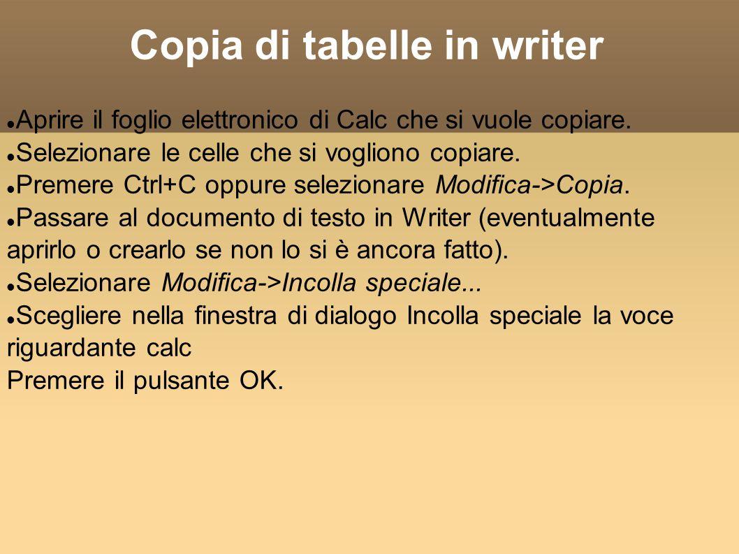 Copia di tabelle in writer Aprire il foglio elettronico di Calc che si vuole copiare.
