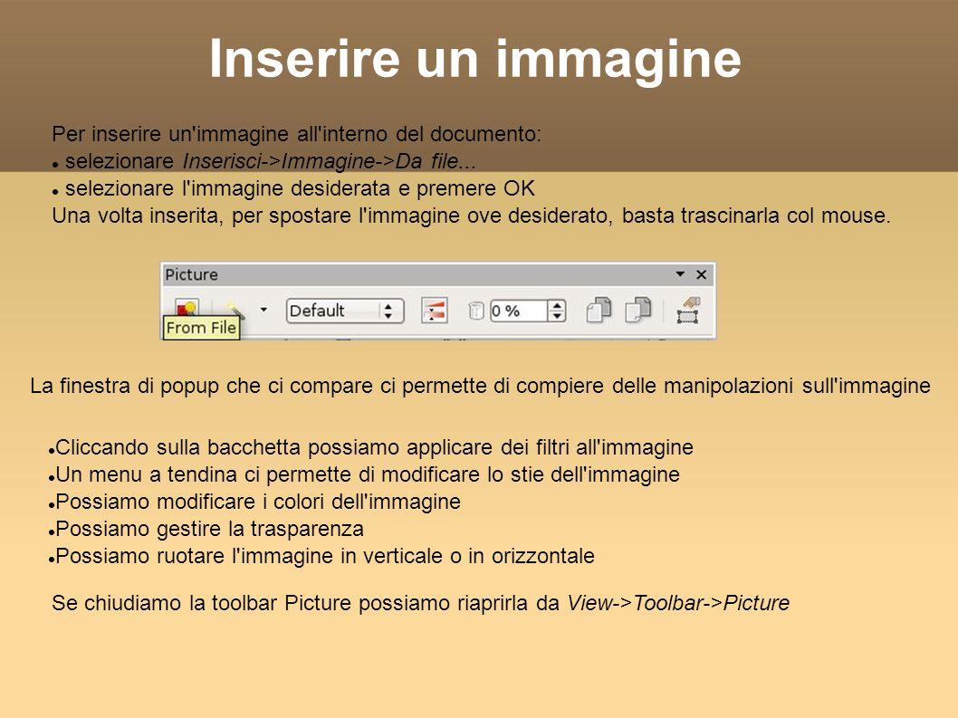 Inserire un immagine Per inserire un immagine all interno del documento: selezionare Inserisci->Immagine->Da file...