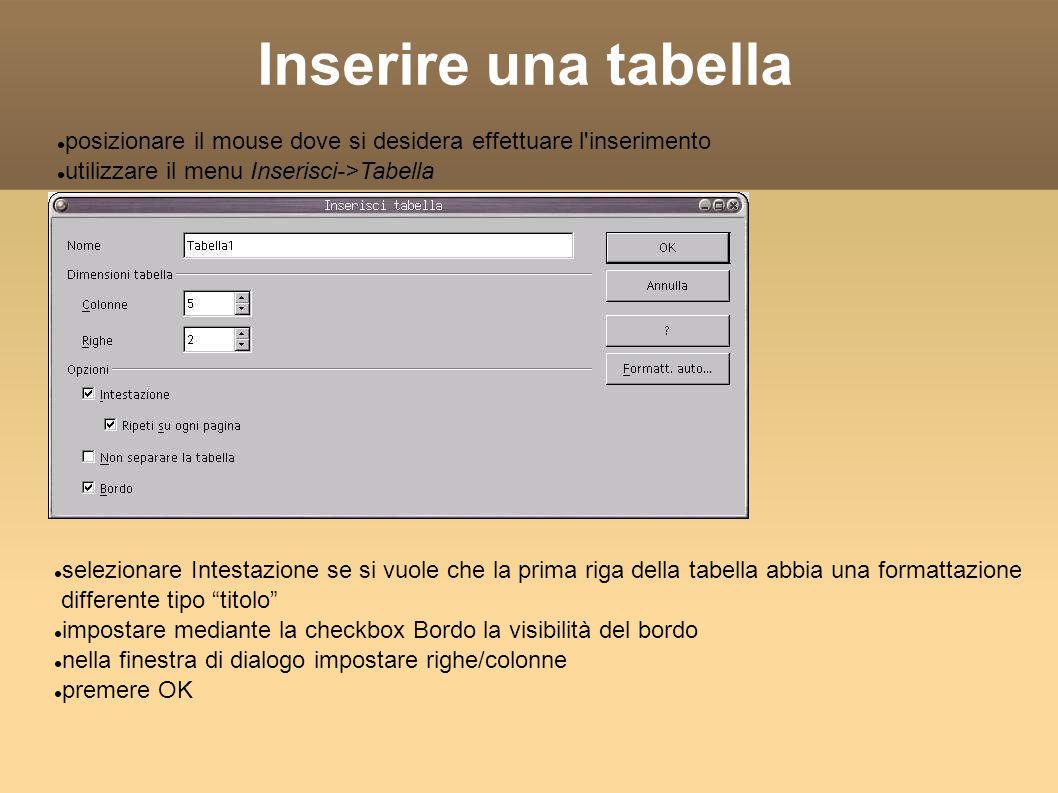 Inserire una tabella Compare il menu della Tablella Il primo tasto ci permette di creare tabelle in una cella Possiamo gestire i bordi e i colori delle celle Il pulsante con la tabella e la mano permette di editare tutte le proprietà Se chiudiamo la toolbar della tabella possiamo riaprirla da View-> Toolbar ->Toolbar
