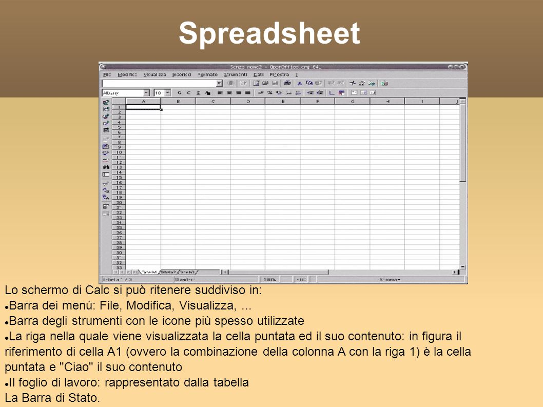 Spreadsheet Lo schermo di Calc si può ritenere suddiviso in: Barra dei menù: File, Modifica, Visualizza,...