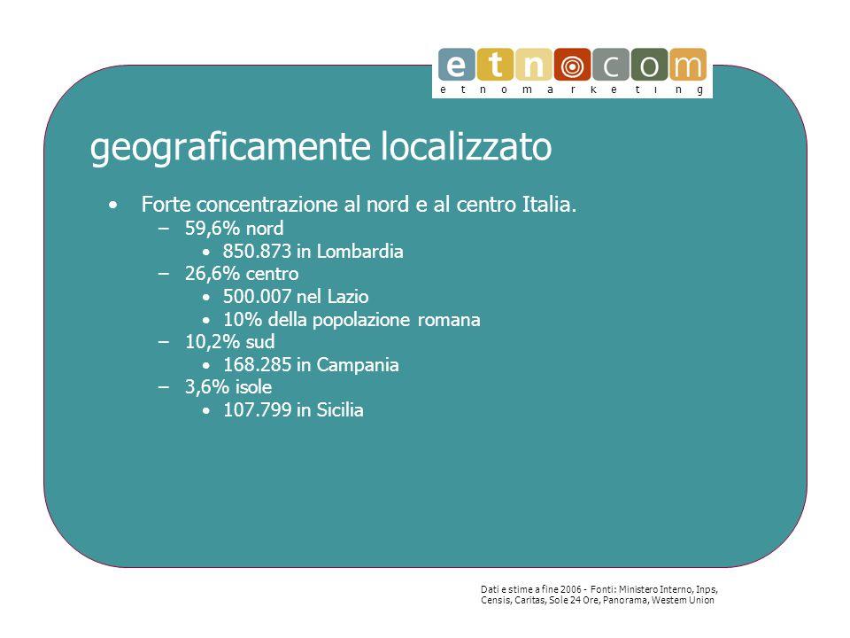 e t n o m a r k e t i n g geograficamente localizzato Forte concentrazione al nord e al centro Italia.