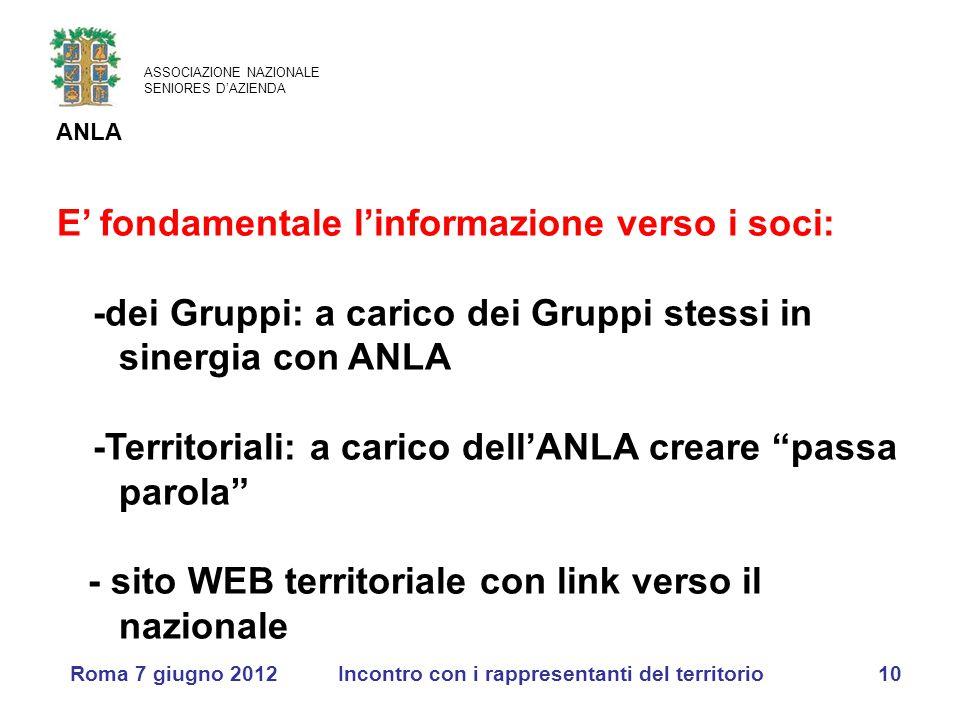 ASSOCIAZIONE NAZIONALE SENIORES D'AZIENDA ANLA Roma 7 giugno 2012Incontro con i rappresentanti del territorio10 E' fondamentale l'informazione verso i