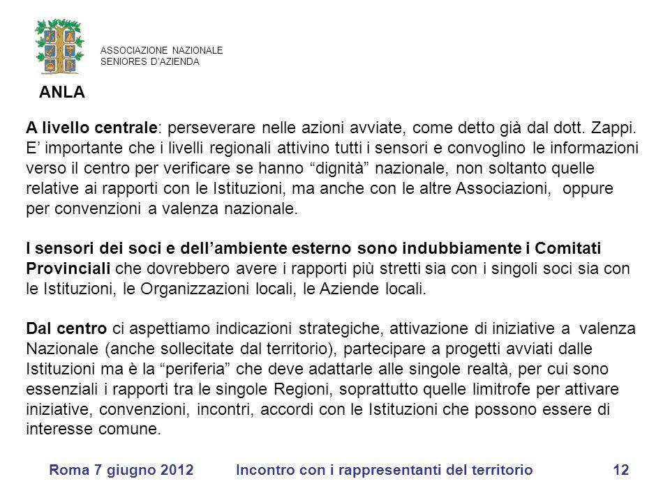 ASSOCIAZIONE NAZIONALE SENIORES D'AZIENDA ANLA Roma 7 giugno 2012Incontro con i rappresentanti del territorio12 A livello centrale: perseverare nelle azioni avviate, come detto già dal dott.
