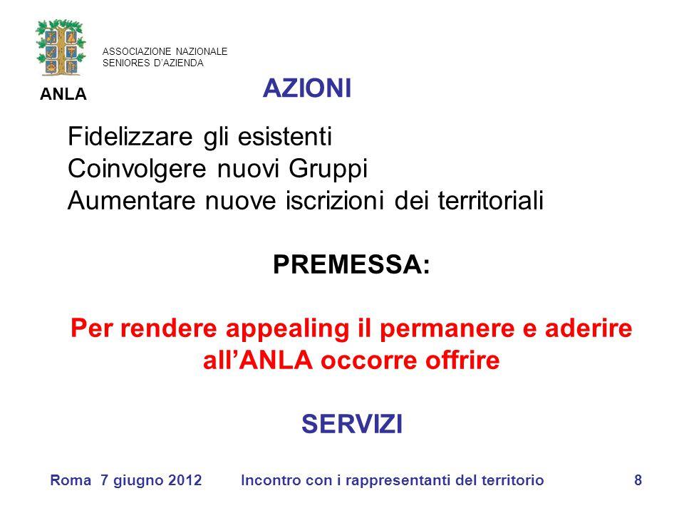 ASSOCIAZIONE NAZIONALE SENIORES D'AZIENDA ANLA Roma 7 giugno 2012Incontro con i rappresentanti del territorio8 Fidelizzare gli esistenti Coinvolgere n