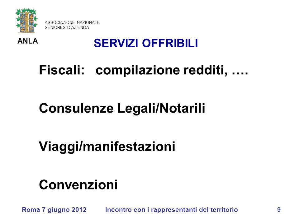 ASSOCIAZIONE NAZIONALE SENIORES D'AZIENDA ANLA Roma 7 giugno 2012Incontro con i rappresentanti del territorio9 Fiscali: compilazione redditi, ….