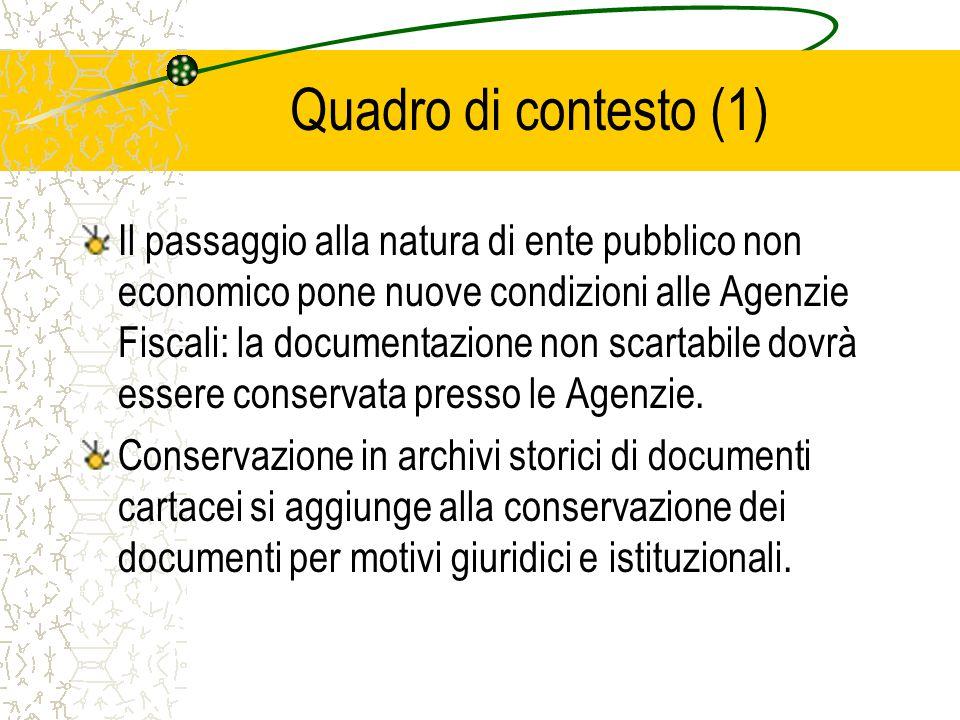 Quadro di contesto (1) Il passaggio alla natura di ente pubblico non economico pone nuove condizioni alle Agenzie Fiscali: la documentazione non scartabile dovrà essere conservata presso le Agenzie.