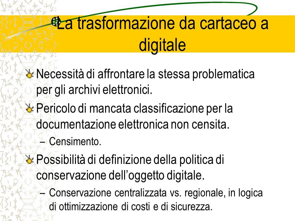 La trasformazione da cartaceo a digitale Necessità di affrontare la stessa problematica per gli archivi elettronici.