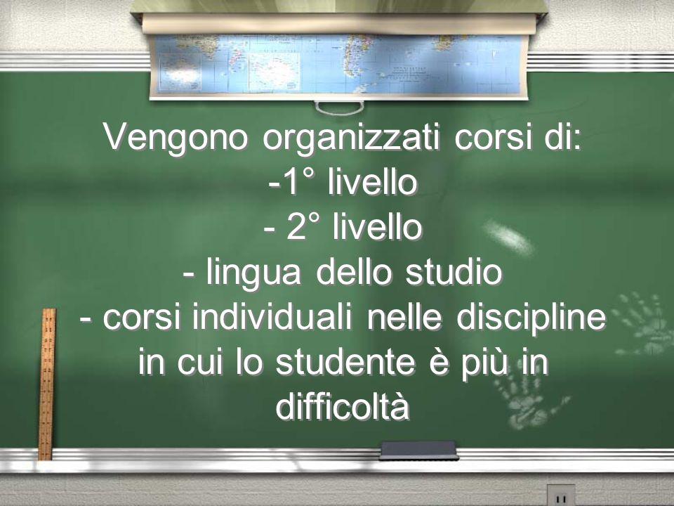Vengono organizzati corsi di: -1° livello - 2° livello - lingua dello studio - corsi individuali nelle discipline in cui lo studente è più in difficoltà