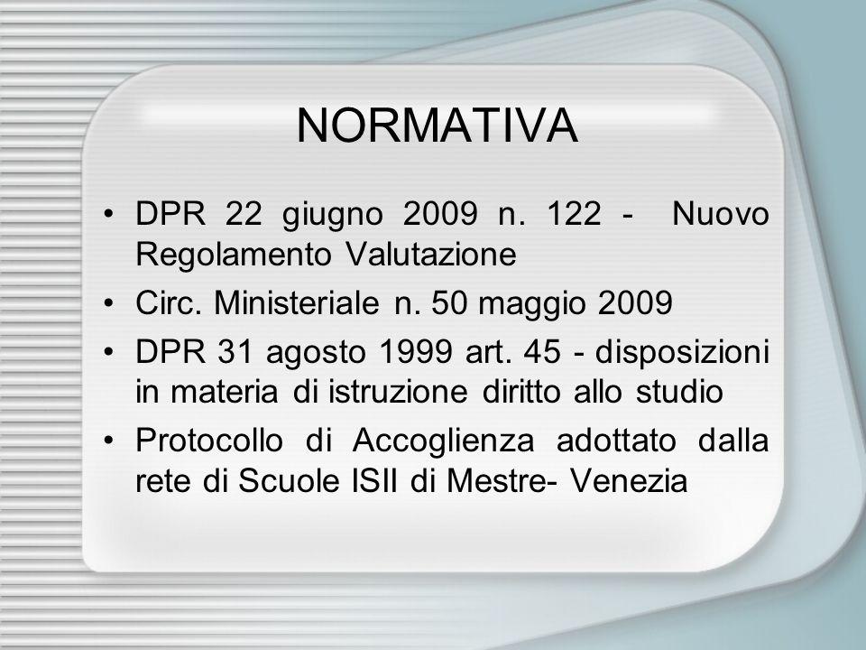 NORMATIVA •DPR 22 giugno 2009 n.122 - Nuovo Regolamento Valutazione •Circ.