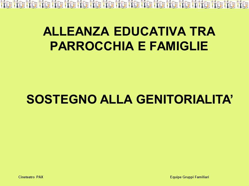 ALLEANZA EDUCATIVA TRA PARROCCHIA E FAMIGLIE Equipe Gruppi FamiliariCineteatro PAX SOSTEGNO ALLA GENITORIALITA'