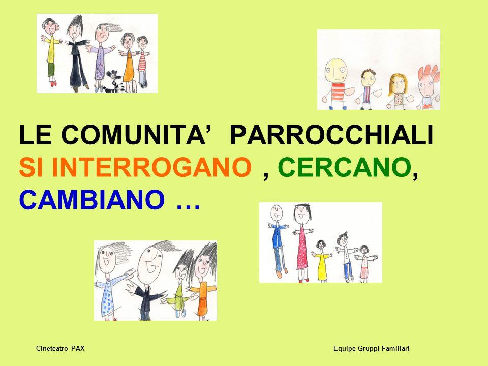 LE COMUNITA' PARROCCHIALI SI INTERROGANO, CERCANO, CAMBIANO … Equipe Gruppi FamiliariCineteatro PAX