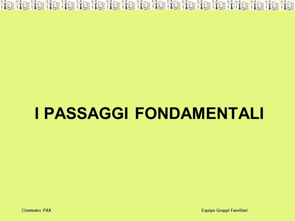 I PASSAGGI FONDAMENTALI Equipe Gruppi FamiliariCineteatro PAX