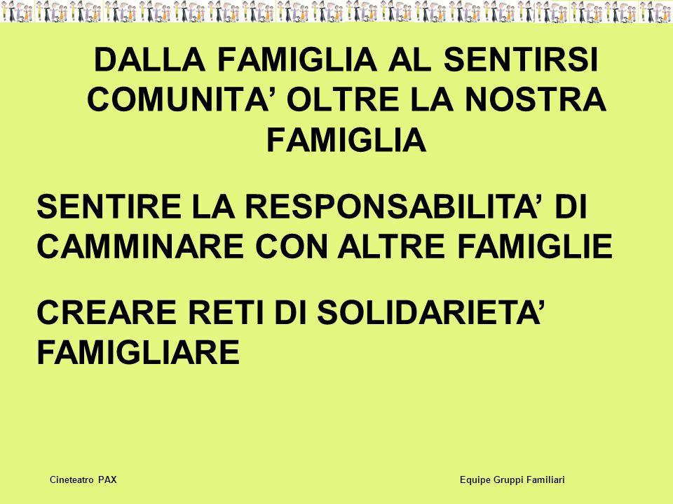 DALLA FAMIGLIA AL SENTIRSI COMUNITA' OLTRE LA NOSTRA FAMIGLIA Equipe Gruppi FamiliariCineteatro PAX SENTIRE LA RESPONSABILITA' DI CAMMINARE CON ALTRE FAMIGLIE CREARE RETI DI SOLIDARIETA' FAMIGLIARE