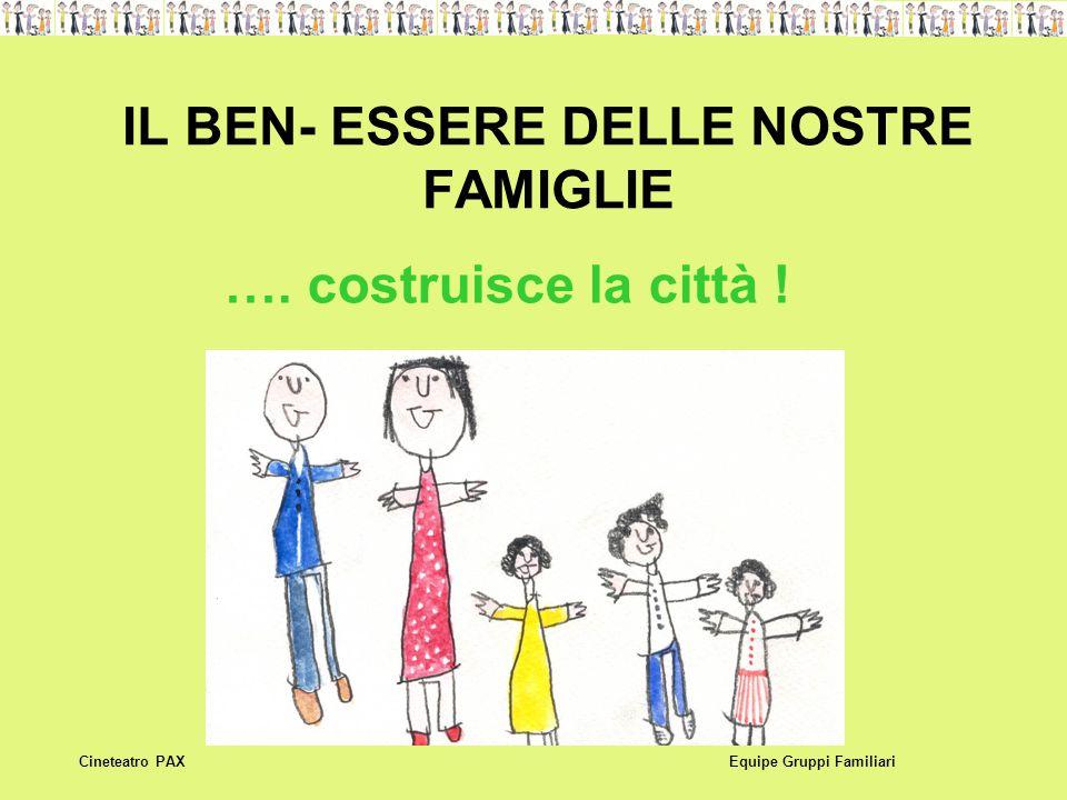 IL BEN- ESSERE DELLE NOSTRE FAMIGLIE Equipe Gruppi FamiliariCineteatro PAX …. costruisce la città !