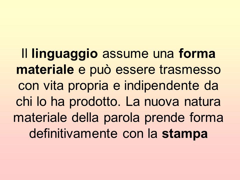 Il linguaggio assume una forma materiale e può essere trasmesso con vita propria e indipendente da chi lo ha prodotto.