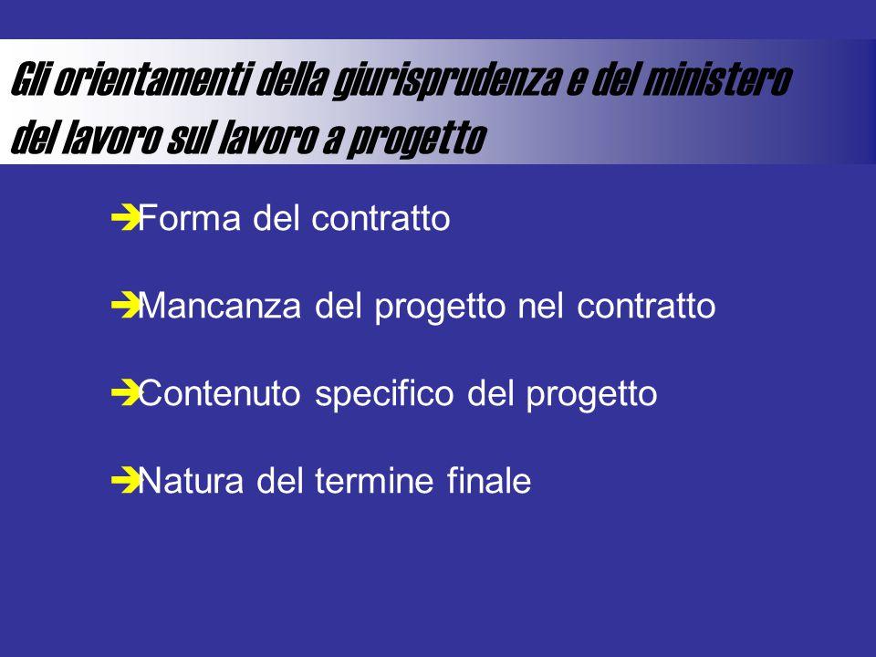 Gli orientamenti della giurisprudenza e del ministero del lavoro sul lavoro a progetto  Forma del contratto  Mancanza del progetto nel contratto  Contenuto specifico del progetto  Natura del termine finale