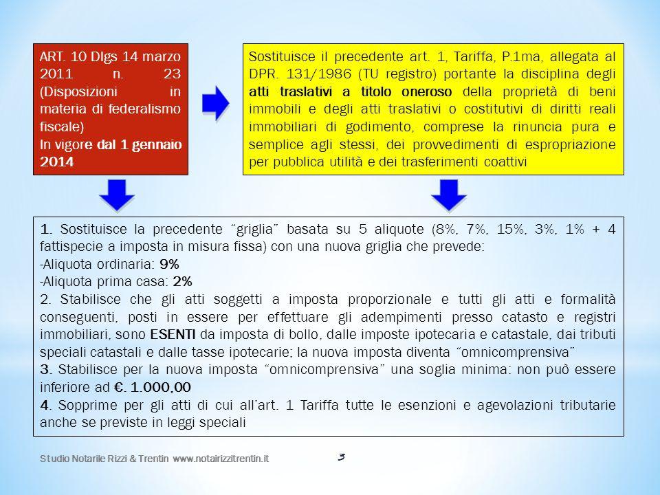 3 ART. 10 Dlgs 14 marzo 2011 n. 23 (Disposizioni in materia di federalismo fiscale) In vigore dal 1 gennaio 2014 Sostituisce il precedente art. 1, Tar